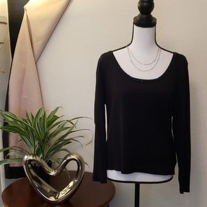 Talbots black top with beaded design around scoop